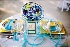 Blue Green Yellow Purple Wedding Ideas Inspired by Science