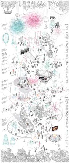 50 Ideas For Drawing Architecture Plan Presentation Croquis Architecture, Architecture Mapping, Architecture Collage, Architecture Graphics, Architecture Portfolio, Architecture Design, Axonometric Drawing, Isometric Drawing, Concept Diagram