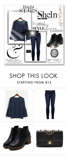 """Navy Round Neck Bell Sleeve T-shirt  Shein"" by amelija45 ❤ liked on Polyvore featuring Levi's, Chanel and Pier 1 Imports"