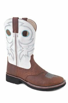 awesome Roper Western Boots Womens Classic Saddle Vamp Buckaroo White Brown