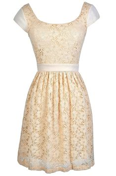 Perfect Silhouette Lace Capsleeve Dress in Beige  www.lilyboutique.com
