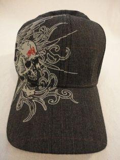 Mens Winged Zombie Skull Baseball Tek Flex Cap Hat  TekFlex  BaseballCap 29802ae2830b