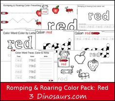FREE Romping & Roaring Color Word Red Pack - 8 pages of activities focused…