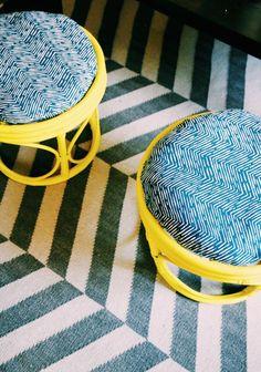 Painted Papasan stools and harringbone rug (West-side living room makeover: sneak peek)