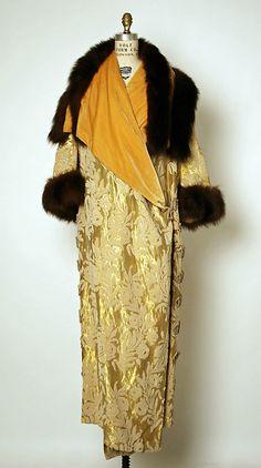 Jacques Doucet, Evening Coat of Silk Velvet with Velvet Revers, Metallic Thread, & Fur Trim. Paris, c. 1910.