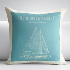 personalized sailboat outdoor throw pillow cover
