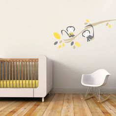 Monkey Nursery Wall Decal, Kids Wall Decal. Branch with Monkeys Children Wall Decal via Etsy