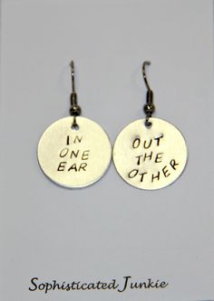 In One Ear, Out the Other Earrings. $15.00, via Etsy.