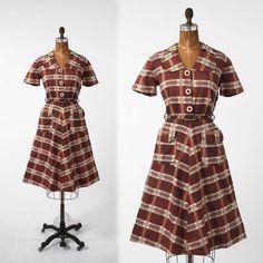 1940s Plaid Dress Vintage Cotton Brown Checkered by missfarfalla