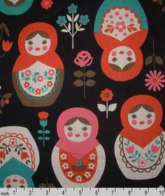Russian dolls Fabric. my daughter has her mac. cover in this pattern