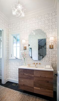 Powder Room With Subtle Geometric Wallpaper, Bold Modern Wood Vanity And  Glass Bubble Chandelier   Tracy Hardenburg Designs.