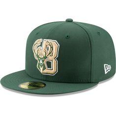 57eebb27b05 Men s Milwaukee Bucks New Era Hunter Green Team Logo Back Half Series 59FIFTY  Fitted Hat