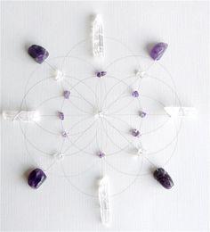 amethyst sacred geometry crystal grid.. metaphysical wall art