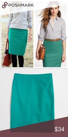 J. Crew pencil skirt in porcelain green Gorgeous Preowned J. Crew pencil skirt in porcelain green. Size 4. 70% wool 30% viscose. Style 46575. Dry clean only. From a smoke and pet free home. J. Crew Skirts