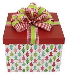 Caja de regalo navideña / Roja / Moño / Navidad 2014 / Adorno / Decoración