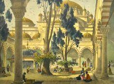 OĞUZ TOPOĞLU : eugéne flandin bayezid camii avlusu gravürü. Cour İnterieure de la Mosquée du Sultan Bayazid, Constantinople