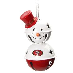 San Francisco 49ers Two-Tier Snowman Bell Ornament