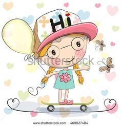 Cute Cartoon Girl with balloon on a skateboard
