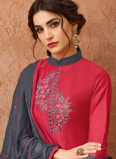 Order this savory hot pink designer salwar suit for festival and party. Embroidery On Clothes, Embroidery Fashion, Embroidery Dress, Embroidery Suits Punjabi, Kurti Embroidery Design, Silk Kurti Designs, Kurti Designs Party Wear, Sleeves Designs For Dresses, Dress Neck Designs