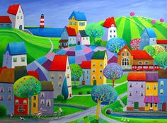 Paintings and illustrations by Iwona Lifsches. Art presentation and sale of original paintings and other art products. Art And Illustration, Tole Painting, Painting & Drawing, Am Meer, Naive Art, City Art, Art Studies, Pictures To Paint, Kitsch