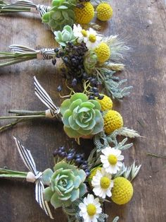 Natural Wedding Co: The Blue Carrot Little bouquets on tables or around of succulents and violet/blue flowers Yellow Wedding Flowers, Blue Flowers, Floral Wedding, Wedding Bouquets, Flower Bouquets, Wedding Colors, Mustard Yellow Wedding, Natural Wedding Flowers, Wedding Buttonholes