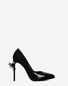 SAINT LAURENT CLASSIC PARIS SKINNY 105 ESCARPIN V BOW PUMP IN BLACK PATENT LEATHER AND CLEAR CRYSTAL | YSL.COM