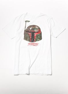 Boba Fett gets flipped for this exclusive release. As if the helmet wasn't dope enough, it's been given a camo-print make-over and placed in the center of this fresh white tee. Signed in graffiti by the Bounty Hunter himself. #StarWars #Ecko