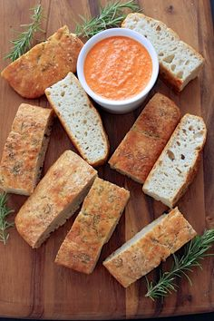 No Knead Focaccia with a Roasted Red Pepper, Feta and Walnut Dipping Sauce