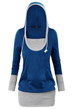 DJT Womens 2-in-1 Color Block Hoodie Casual Shirt Top *** You can get additional details at the image link.