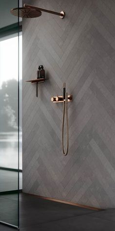 Copper bathroom fittings. Bathroom decor, ideas and inspiration. Shower interior design.