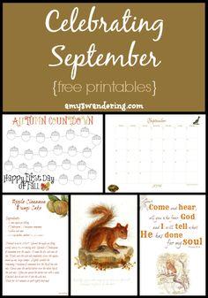 Celebrating September - autumn countdown, nature observation calendar, Bible verse, poems, vintage prints & more {subscriber FREEBIE}