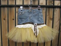 Love this---Cowgirl Denim Tutu Skirt - Made From Recycled Jeans