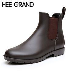 HEE GRAND Sexy Rain Boots 2016 Women Ankle Boots Casual Platform Shoes Woman Slip On Creepers Casual Flats Size 35-43 XWX4080