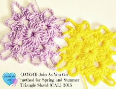 Join As You Go (JAYGO) method for Spring and Summer Triangle Shawl (CAL) 2015