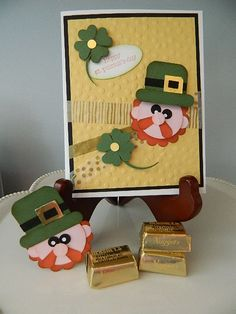 Video Tutorial on the link! St. Patrick's Day, Stampin' UP!, punch art, leprechaun