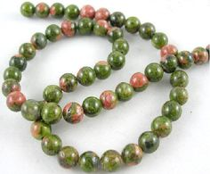 47 Perles de unakite naturelles 8 mm : Perles pierres Fines, Minérales par mercerie-jewelry