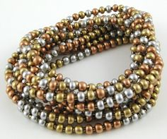 Heavy Metal Mix set of ten stretchy seed bead by OklahomaMama, $10.00