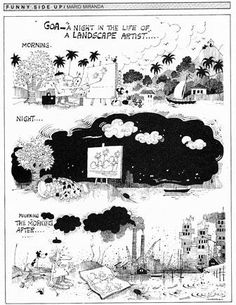 Mario Miranda's 1987 cartoon captures the suddenness of environmental degradation and the Goan artist's inability to process the altered landscape  before him
