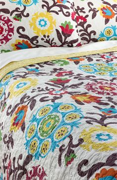 Levtex Corazon Quilt available at Cozy Bedroom, Bedroom Decor, Spanish Style Homes, Spanish Colonial, Textiles, Bed Spreads, My Dream Home, House Design, Quilts