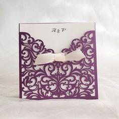 purple laser cut invitations with ivory ribbon EWWS054
