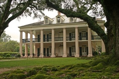 Oak Alley Plantation   Built 1837-1839 by Jacques T. Roman, this fine example of Greek Revival architecture is famous for its alley of 28 evenly spaced live oak trees, believed to be at least 100 years older than Big House. A National Historic Landmark.