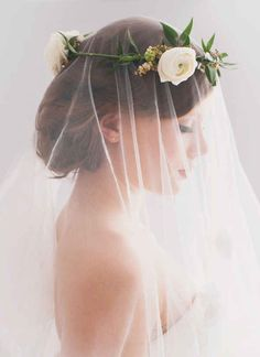 Don't like this floral crown, but like the idea of the veil under it Wedding Veils, Wedding Day, Dream Wedding, Hair Wedding, Bridal Veils, Wedding Blog, Wedding Planner, Wedding Hacks, Wedding Beach