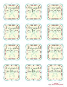 "#Printable ""Homemade just for you"" gift tags"