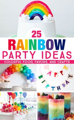 25 Rainbow Party Ideas that Will Knock Your Socks Off Get colorful rainbow party ideas that are perfect for kids rainbow birthday parties and rainbow baby showers. So many bright, colorful ideas for rainbow party food, favors, and crafts! Rainbow First Birthday, Colorful Birthday Party, Birthday Party Games, Girl First Birthday, Unicorn Birthday Parties, First Birthday Parties, First Birthdays, Rainbow Theme Baby Shower, Colorful Party