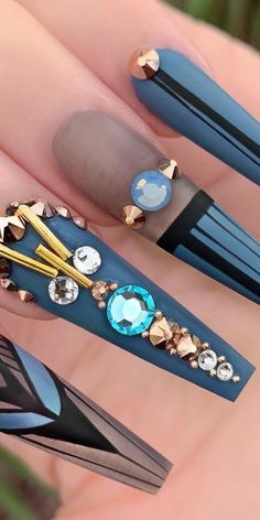 21 Elegant Coffin Acrylic Nails Design You Should Try Right Now - Tribal Coffin Nail Art Prom Nails, Bling Nails, Stiletto Nails, Wedding Nails, Coffin Nails, Flower Nail Designs, Acrylic Nail Designs, Nail Art Designs, Nails Design