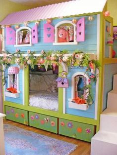 DIY Free plans to build a cottage bunk bed! You can build this dream bunk bed with step by step plans from http://Ana-White.com. Designed and built by Jenny at Birds and Soap.  free PDF