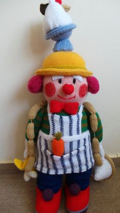 Handmade doll. Hand knitted doll.Jean Greehowe knitted doll.Traditional toy.  Jean Greenhowe's O. Yummy. Clown. Old fashioned doll.