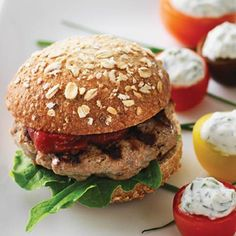Healthy Turkey Sliders with Homemade Ketchup. Sliders are easy to serve and fun-to-eat appetizers, and Clean Eating's healthier version strips them of the requisite greasy patty and corn syrup–laden sauces, without sacrificing flavor. Snack Recipes, Dinner Recipes, Cooking Recipes, Healthy Recipes, Healthy Options, Turkey Recipes, Healthy Meals, Delicious Recipes, Easy Meals
