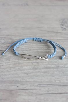 Friendship bracelet with sign of fish Light blue macrame bracelet Christian jewelry Woven bracelet Stackable bracelet by ElvishThings