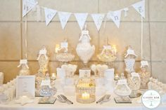 white wedding candy buffet. too bad the best tasting candies aren't white!